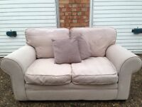 """Cream / Beige two seater sofa """" free delivery """" £45"""