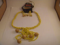 Yellow Beaded Necklace And Earring Set