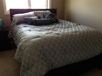 Queen size bed/mattress with frame and matching night stand