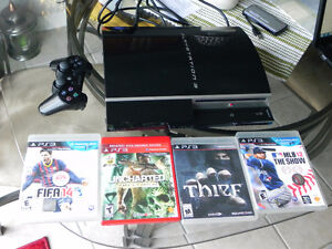 Sony Playstation 3 PS3 80 GB Console Black Bundle 4 Games