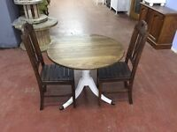 Oak top dining table and 2 oak chairs