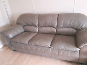 Beige leather sofa....great condition Sussex NB