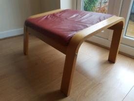 Ikea Poang Bergundy Leather Effect Footstool