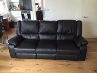 Large Leather Effect Manual Recliner Sofa