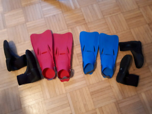 Kids scuba snorkeling fins and water windsurfing shoes booties