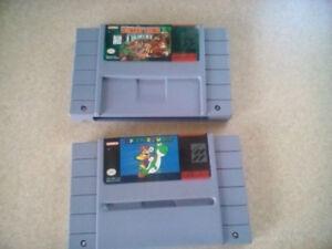 Cassette Super Nintendo Donkey Kong et Mario World