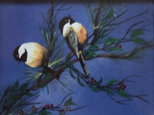 Decorative leather framed bird scenery print accent London Ontario image 3