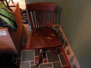 Antique wood swivel desk chair on wheels $30