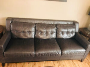 Genuine leather grey couch set