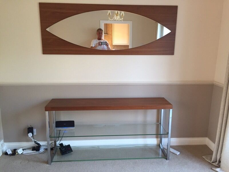Bo Concept Chrome And Walnut Console Table With Matching