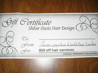50$ GIFT CERT/HAIR SERVICES