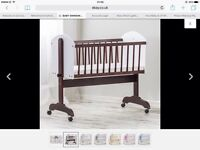 Swinging baby crib with wheels (white & brown)