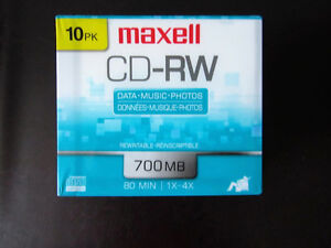 Maxell 630011 700MB 80 min CD-RW Discs (pack of 10)
