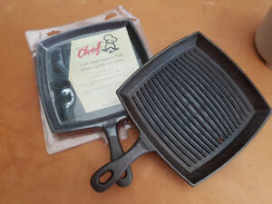 Master chef cast iron grill pans, 2 units