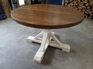"48"" round rustic farmhouse table/ solid oak"