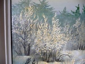 "Original Oil by Urszula Broll "" Mid-Winter Moonlight"" Early Abst Stratford Kitchener Area image 7"