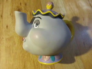 Disney Mrs. Potts Tea Pot Plastic Coin Bank BEAUTY AND THE BEAST