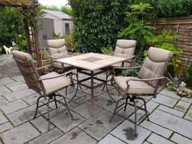 Lower price GARDEN TABLE AND SWIVEL CHAIRS with cushions