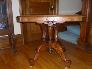 Antique parlour table and vintage corner cabinet