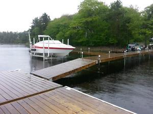 Wood Dock with Foam-Filled Floats