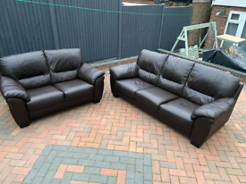 Real leather brown 3&2 seater sofas