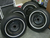 GM 14 inch rims with W/W tires,off 1971 Olds Cutlass