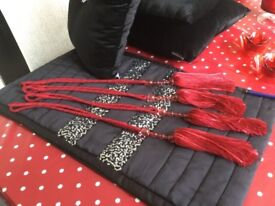 RED CURTAIN TIE BACKS