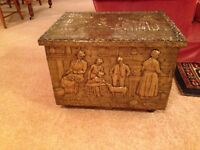 Fire wood box, brass antique