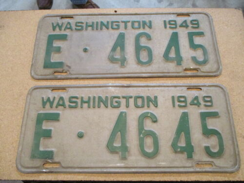 A Pair of 1949 Washington Licence Plate / Original