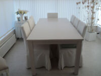 SOLID OAK FACTORY PAINTED WHITE DINING ROOM TABLE WITH 8 COVERED CHAIRS