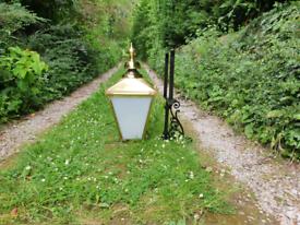 Large brass Victorian style wall lamp/light/lantern house outside barn