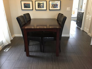 Solid Wood Table with 5 Leather Chairs