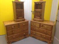 Solid pine antique finish bedroom set - 2x chest of drawers & 2x bedside cabinets - furniture Sutton