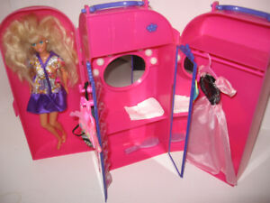 Barbie with Vanity/closet and extra clothes