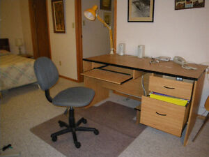 One Computer desk and two student desks for sale