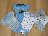 Newborn onesies and matching hats