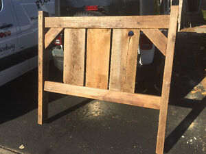 Rustic queen size head board made from 100yr old barn beams London Ontario image 1