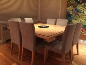 Light Maple Dining / Boardroom Table + 8 Chairs
