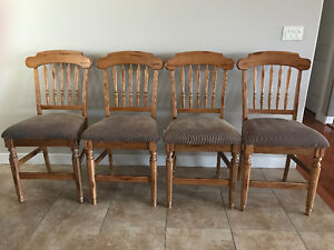 4 Solid Wood Bar Height Chairs