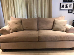 Large comfy taupe microsuede sofa