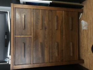 Solid wood dresser with two bedside tables