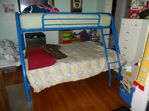 Single over Double Blue Metal Bunk Beds