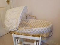 Mothercare Moses Basket with White Gliding Stand