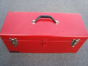 "Steel Portable Tool Box, 9""H x 24""W x 8""D, 1580 cu. in., Red"