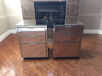 NEW Elegant Mirrored 3 Drawer Filing Cabinets / Bedside Tables