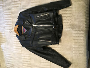 Lady's Black Leather Motor Cycle jacket made by MOD