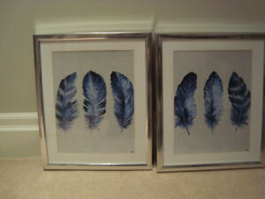 SET OF 2 FEATHER PICTURES