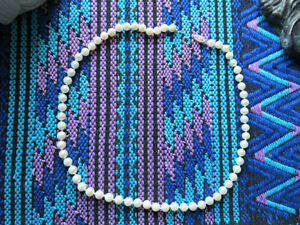 Gulf Saltwater Pearl Necklace - 18 inch with 18 karat gold clasp