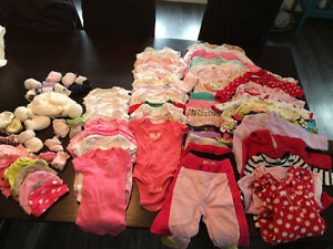 Box of 0-3 baby girl clothing (80 items)