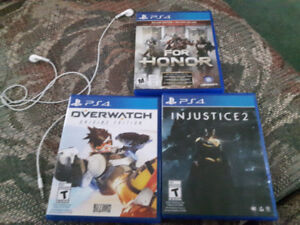 Overwatch, For honor, and injustice 2